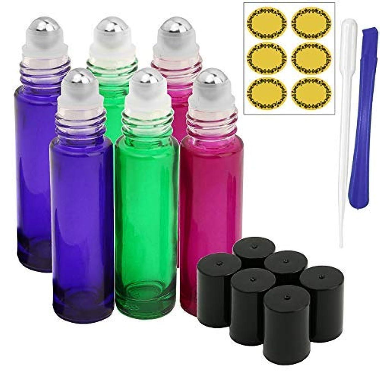 ローマ人新鮮な爆弾6, 10ml Roller Bottles for Essential Oils - Gradient Color Glass Refillable Roller on Bottles with 1 Opener, 1 Dropper & 12 Pcs Label, Suitable for Aromatherapy, Essential Oils by JamHooDirect [並行輸入品]