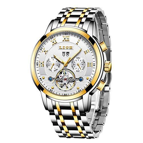 LIGE Uhr Herren Automatik Mechanische wasserdichte Armbanduhr Männer Edelstahl Datum Kalender Kleid Uhr Mode Lässig Skelett Tourbillon Armbanduhr