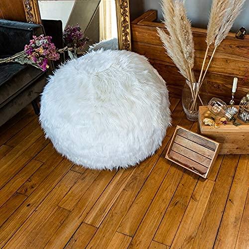 Pouf Fourrure Blanc 80 cm Rempli de Mousse Déchiquetée Ultra