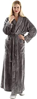 Image of Full Length Grey Flannel Fleece Bath Robe for Women - See More Colors