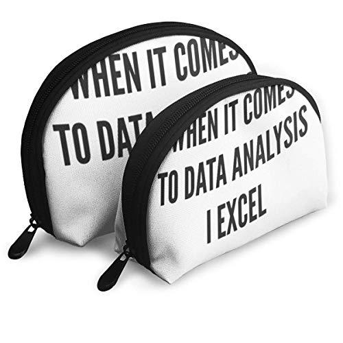 Shell Shape Kosmetiktasche Wenn es um Datenanalyse geht I Excel Tragbare Taschen Clutch Pouch Aufbewahrungstasche Damen Handtasche Organizer Mit Reißverschluss 2St