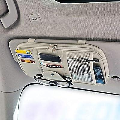 Da by Leather Car Sun Visor Organizer Auto Interior Accessories Pocket Organizer Truck Storage Pouch Holder with Multi-Pocket Net Zipper(Gray)