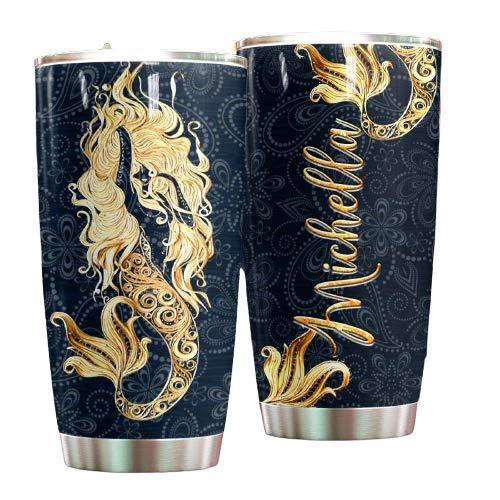 Azala Home Customized Mermaid Golden 20oz Tumbler With Lid, Mermaid Tumbler, Mermaid Coffee Cup, Mermaid Travel Mug, Mermaid Tale Tumbler, Mermaid Tumbler For Women, Mermaid Tumbler For Kids
