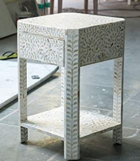 Handmade Leaf Pattern Mother of Pearl Inlay Side Table in White