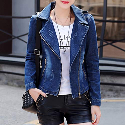 NZJK Fashion Women'S Rits Tuniek Leger Jassen Casual Dames Herfst Denim Jassen Zip Up Biker Jassen Vlucht Tops Kleding