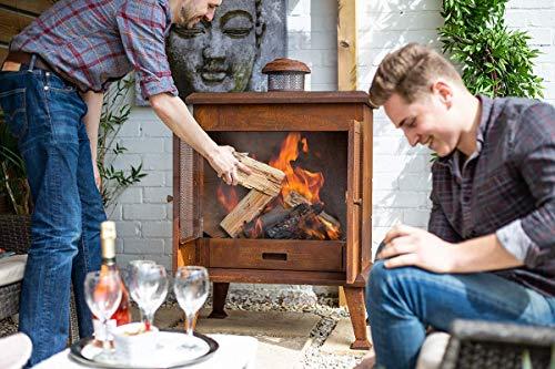 La Hacienda Volantis Oxidised Steel Cabinet Outdoor Fireplace
