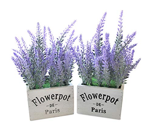 Butterfly Craze Artificial Lavender Plant with Silk Flowers for Wedding Decor and Table Centerpieces (Lavender w/White Pot Set of 2)