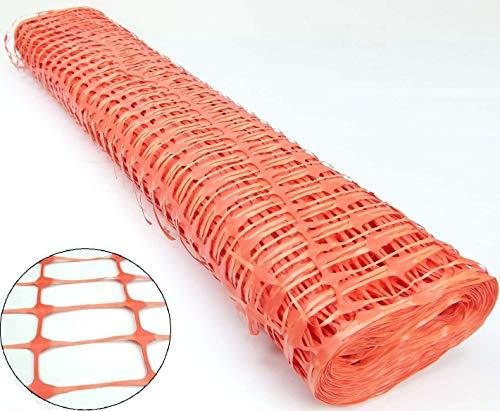 1m x 50m Warnzaun Orange, Kunststoff Absperrzaun Bauzaun Sicherheitszaun Maschenzaun (1 Rolle)