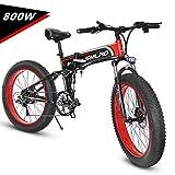 KUDOUT Bicicleta eléctrica de montaña, 800W, Batería 48V 26' E-Bike Sistema de Transmisión de 21 Velocidades con Linterna con Batería de Litio Desmontable con Tres Modos de Trabajo