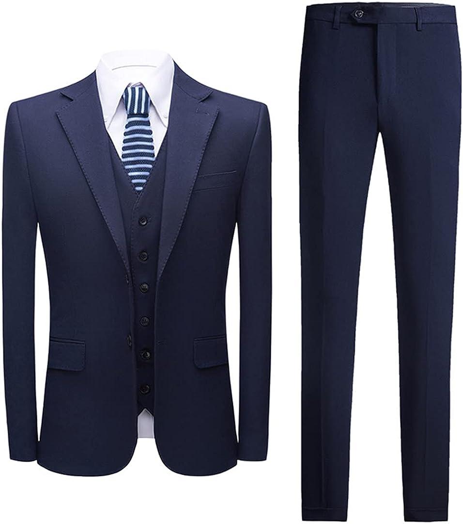 Eyastvgnf Mens Wedding Tuxedos Suits Formal Dark Blue Black White Suit Men 3 Piece Office Business Suit Male