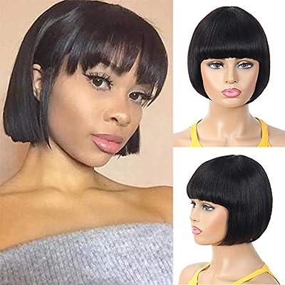Straight Short Bob Wigs with Bangs,Human Hair Natural Color Bangs Wig for Black Women Brazilian 10 A Virgin Guleless Human Hair Wigs