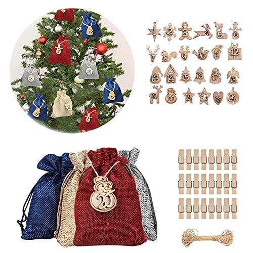 24 bolsas de regalo de lino de Navidad,bolsas de dulces con cordón, con 24 clips,cuerda de cáñamo de 10 m,24 etiquetas de madera para colgar,utilizadas para regalos de Nochebuena y fiestas de Navidad