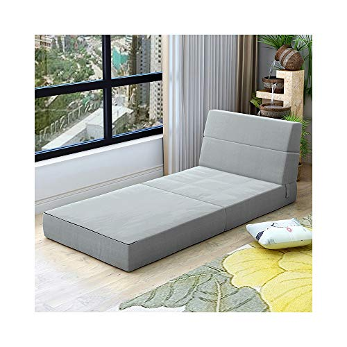 ZYLE Sofá de Tela Sofá Cama Sofá Cama Sofá Plegable Dormitorio Ventana de la bahía Tatami cómodo Extraíble y Lavable Grueso 150 × 70 × 15cm (Color : Light Gray)