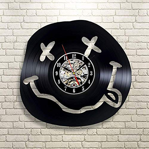 LKCAK Nirvana Banda Redonda Disco de Vinilo Reloj de Pared Material de Vinilo Arte Creativo Hecho a Mano Retro decoración de la habitación