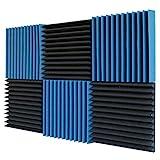 "6 Pack- Ice Blue/Charcoal Acoustic Panels Studio Foam Wedges 2"" X 12""..."