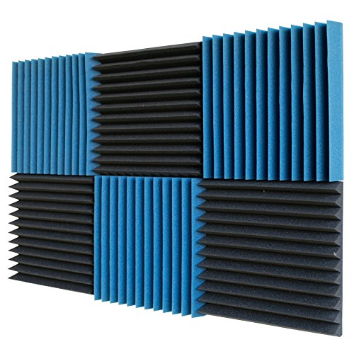 "6 Pack- Ice Blue/Charcoal Acoustic Panels Studio Foam Wedges 2"" X 12"" X 12"""