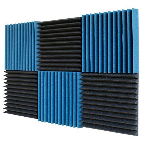 "6 Pack- Ice Blue/Charcoal Acoustic Panels Studio Foam Wedges 2"" X 12"" X 12"""
