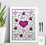 Cuadro boda personalizado.56 x 46 cm Libro de visita. Marco Blanco robusto con 100 corazones incluidos, en varios colores, a elegir. Personalizado con nombre y fecha.