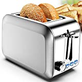Toasters 2 Slice Wide Slot Best 2 Slice Toaster Best Rated Prime Stainless Steel with Removable Crumb Tray 7 Bread Shade Settings, Bagel, Defrost, Cancel Function for Bread