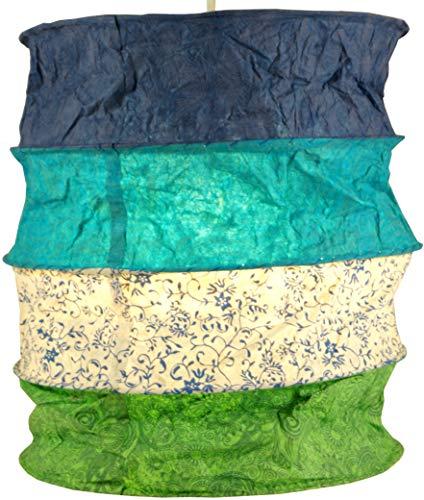 Guru-Shop Runde Papier Hängelampe, Lokta Papierlampenschirm Kailash, Handgeschöpftes Papier - Blau/grün, Lokta-Papier, 35x28x28 cm, Asiatische Deckenlampen aus Papier & Stoff