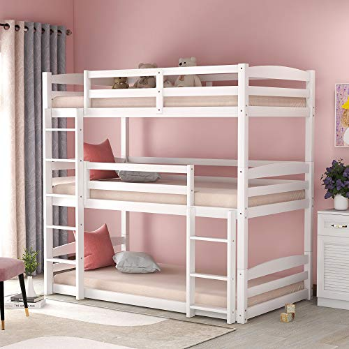 Twin Over Twin Over Twin bunk Bed, Solid Wood Twin Triple Bunk Bed for Kids, Adults, Can be Divided Into 3 Separate Beds, White