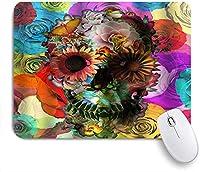 KAPANOU マウスパッド、ハロウィーンの塗られた芸術の花と頭蓋骨 おしゃれ 耐久性が良い 滑り止めゴム底 ゲーミングなど適用 マウス 用ノートブックコンピュータマウスマット