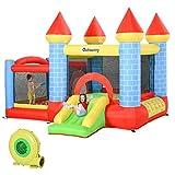 Outsunny Castello Gonfiabile Gigante e Rimbalzante per Bambini 3-12 Anni con Scivolo, Piscina e...