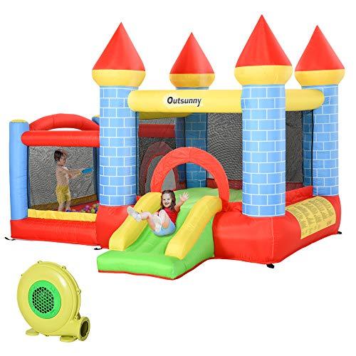 Outsunny Castillo Hinchable Infantil con Tobogán Cama de Salto Inflador y Bolsa de Transporte para Interior y Exterior 300x275x210 cm Multicolor
