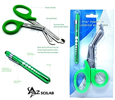 "Heavy Duty Reusable Penlight + Nurse Doctor Medical Paramedic Trauma Utility Tactical Shears Scissors 7.25"" (A2ZSCILAB)"