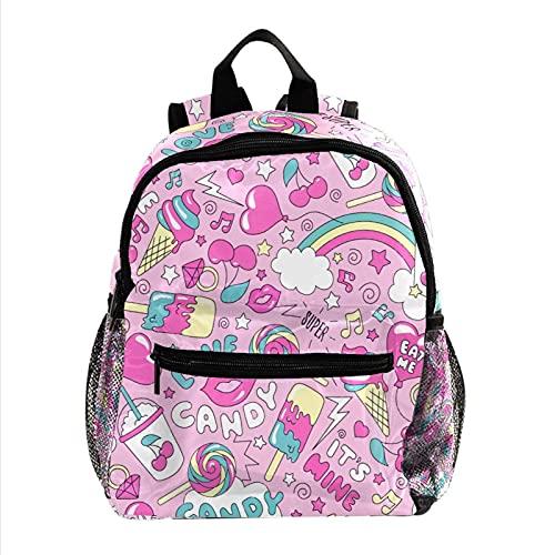 Zaino per bambini e ragazze, scuola materna scuola elementare zaino per bambini con spallacci imbottiti regolabili rosa e rosso, Cnady Pink 21, 25.4x10x30 CM,
