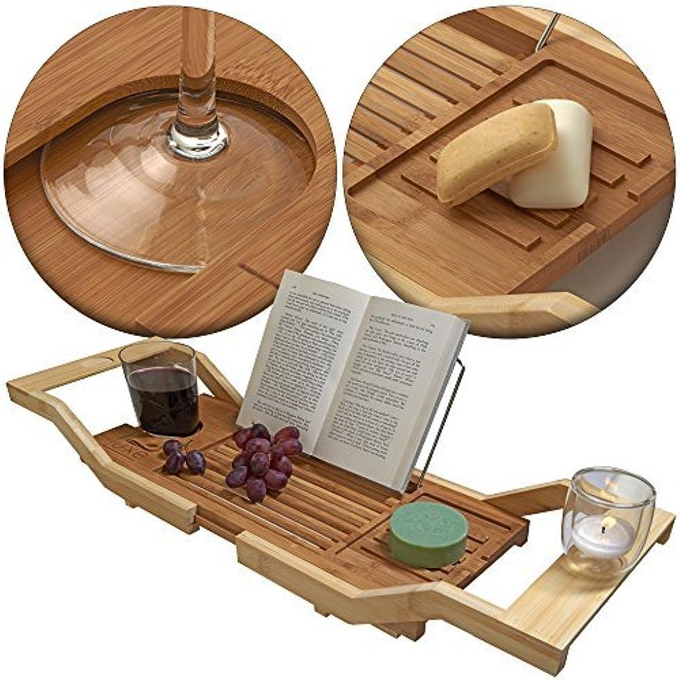 公式お勧め霧深いLuxe 拡張できるバンブーバスタブキャディー/調節できる木製サーブトレイ&オーガナイザー ブックスタンド/ワイングラスホルダー付き