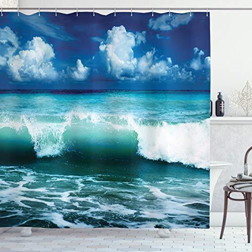 ABAKUHAUS Ozean Duschvorhang, Caribbean Marine Wellen, Personenspezifisch Druck inkl.12 Haken Farbfest Dekorative mit Klaren Farben, 175 x 200 cm, Aqua Navy Blau Weiß