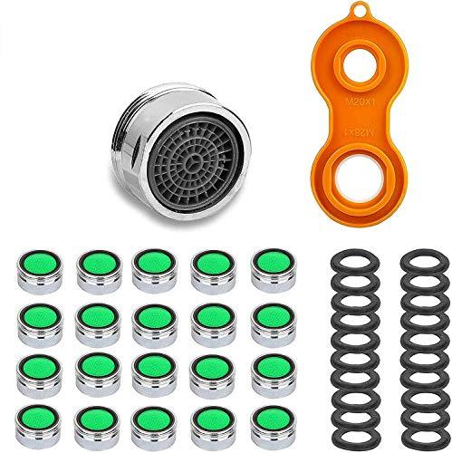 LISOPO 20 Stück Strahlregler M24 Wasserhahn Wasserhahn sieb Einsatz mit Schlüssel,Wasserhahn Filter aus ABS,Wasserhahn Strahlregler…