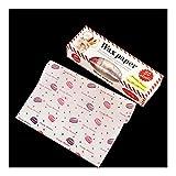 天ぷら敷紙 50pcs / lotはワックスペーパー食品グレードグリース紙の食品包装機械包装紙のためにパンのサンドイッチバーガーフライドポテトベーキングツールOilpaper (Color : Macron)