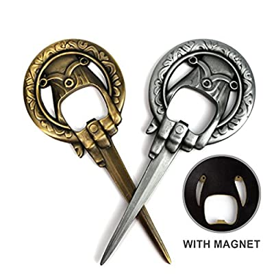Hand of the King Bottle Opener - Pack of 2 Bronze and Silver - Game Of Thrones Style - Perfect Gift for Men Fans - Cool Custom Collectible Accessories - Scott Malone
