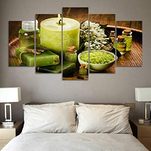 HOMEDCR Wandplakat Leinwand Malerei Wandkünstler Wohnzimmer Dekoration Wohnzimmer 5 Stück Grüne Heiße Quelle Salz Blume Modulares Druckbild