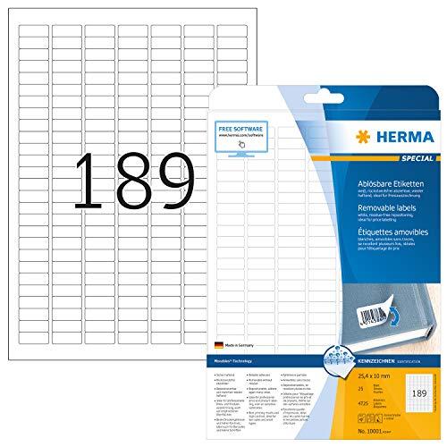 HERMA 10001 Universal Etiketten DIN A4 ablösbar, klein (25,4 x 10 mm, 25 Blatt, Papier, matt) selbstklebend, bedruckbar, abziehbare und wieder haftende Adressaufkleber, 4.725 Klebeetiketten, weiß