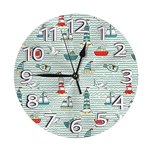 GOSMAO Round Wall Clock,Cartoon Seagull Ship Lighthouse,Desk Clock Home Decor for Kitchen Living Room Bedroom Office