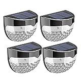 LIBAI LED-Wandstrahler, Schutzart IP65, staubdicht, spritzwassergeschützt, sehr geeignet für den Außenbereich, solarbetriebene Zaunwandleuchten, Gartenhausbeleuchtung (4er-Pack)