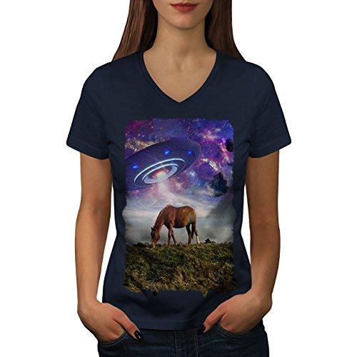 wellcoda Pferd UFO Raum Tier Frau V-Ausschnitt T-Shirt Pferd Grafikdesign-T-Stück