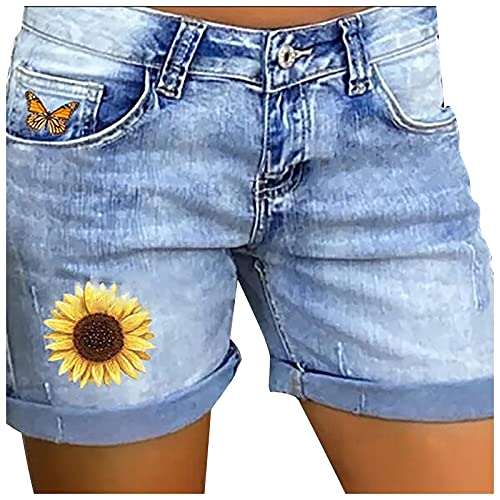 Pantalones Cortos Mujer Vaqueros con Estampado Pantalones Vaqueros Mujer con Bolsillos Shorts de Mezclilla Casual Pantalones Cortos Verano Ideal para Vida Diaria,Ocio,Viajes