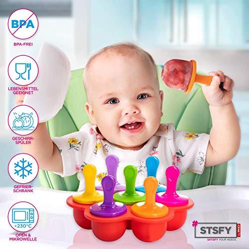 Multifunktions Silikonform Eisform zum Einfrieren Aufbewahrung von Babynahrung Beikost Babybrei & Zubereitung von Eis am Stil - inkl. Silikon-Deckel bunten Stäbchen - BPA-freier Behälter (Red)