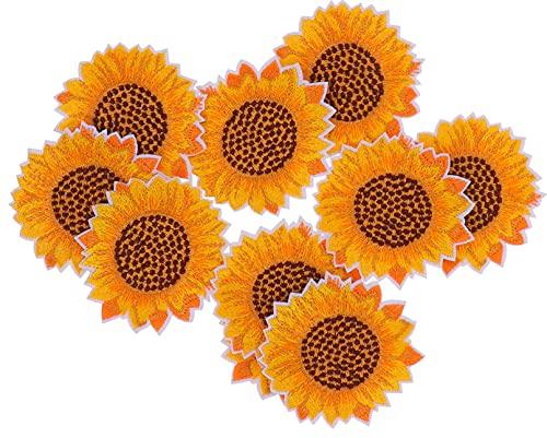 Veemoon 10 Piezas de Parches Bordados de Girasol Apliques de Flores de Girasol Ropa Bordada Parche de Hierro en Parche para Pantalones Chaqueta Camiseta Sombrero Mochilas