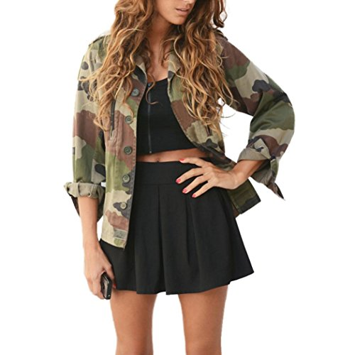 Casual Jacket,KK-more Women Autumn Winter Street Camouflage Jacket Coat (ASIN XL, Green)