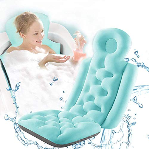Full Body Bath Tub Pillow, Non-Slip Spa Bathtub Mat Mattress with Thick Breathable, Bath Pillows for Tub Neck and Back Support, Fits Jacuzzi