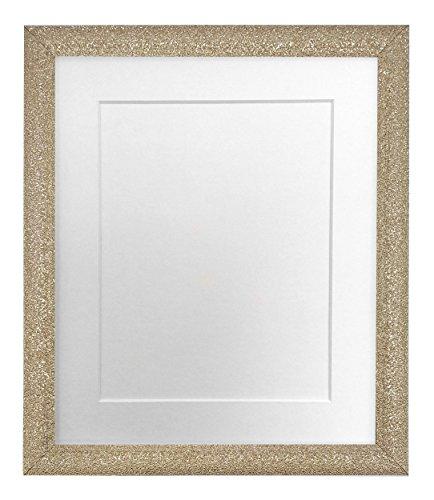 FRAMES BY POST - Cornice portafoto Dorata con passepartout Bianco 17,8 x 12,7 cm, Dimensioni Foto 12,7 x 8,9 cm