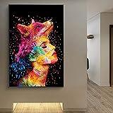 N / A Chica Moderna nórdica Colorida con Zorro en la Cabeza Pintada sobre Lienzo en la Pared póster de Arte e impresión decoración del Artista Sin Marco 60x80 cm