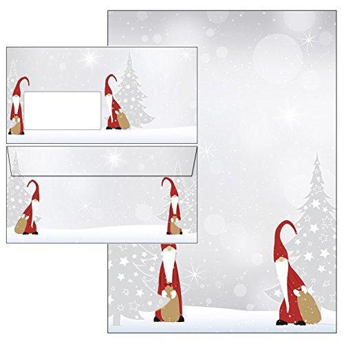 Navidad duende de la Navidad Set–Papel de carta + sobres DIN Largo con ventana 25 Blatt Briefpapier + 25 Kuverts mit Fenster