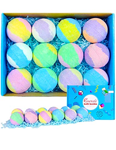 Rosevale Bath Bombs Gift Set,12 Large 5oz Bubble Bath Fizzies,Shea & Coco Butter Dry Skin Moisturize,Perfect for Bubble & Spa Kit,Best Birthday Day Gifts for Women,Her,Wife,Girlfriend,Teens Girls