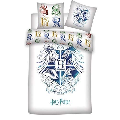 AYMAX S.P.R.L. Harry Potter - Juego de funda nórdica de 140 x 200 cm + funda de almohada + sábana bajera de 90 x 190 cm 100% algodón